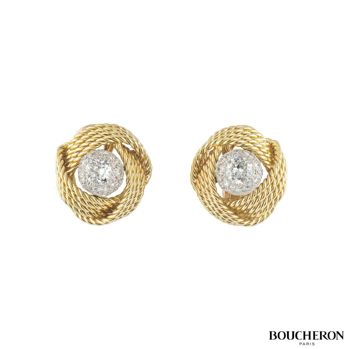 Boucheron Yellow Gold Diamond Knot Earrings